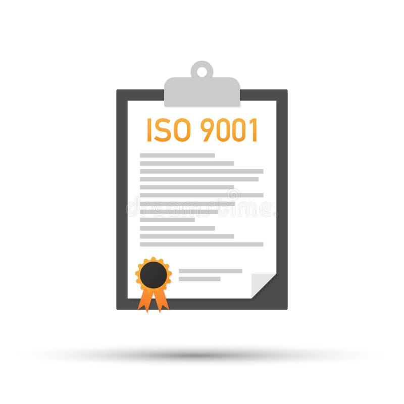 Papel certificado do original de sistema de gerenciamento da qualidade do ISO 9001 Ilustração do vetor ilustração stock