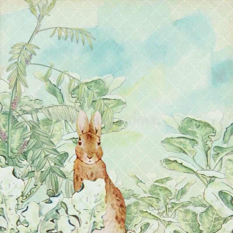 Papel chique gasto da colagem do fundo - vintage Peter Rabbit - Páscoa - berçário - crianças ilustração do vetor