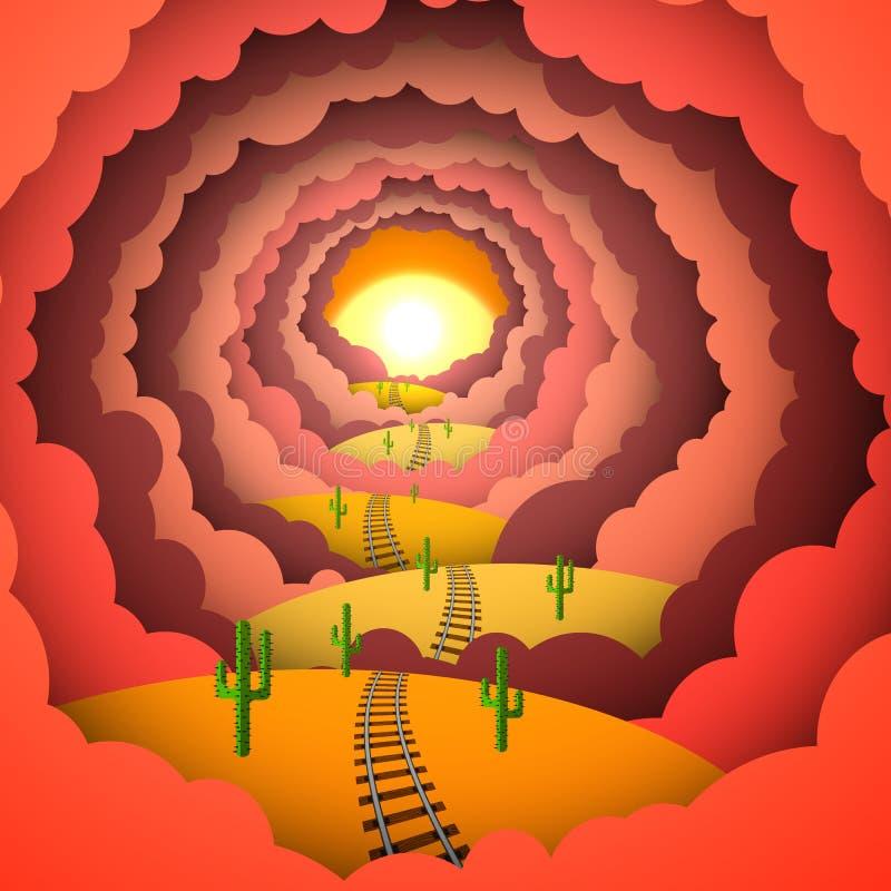 Papel coloreado, puesta del sol, desierto, ferrocarril stock de ilustración