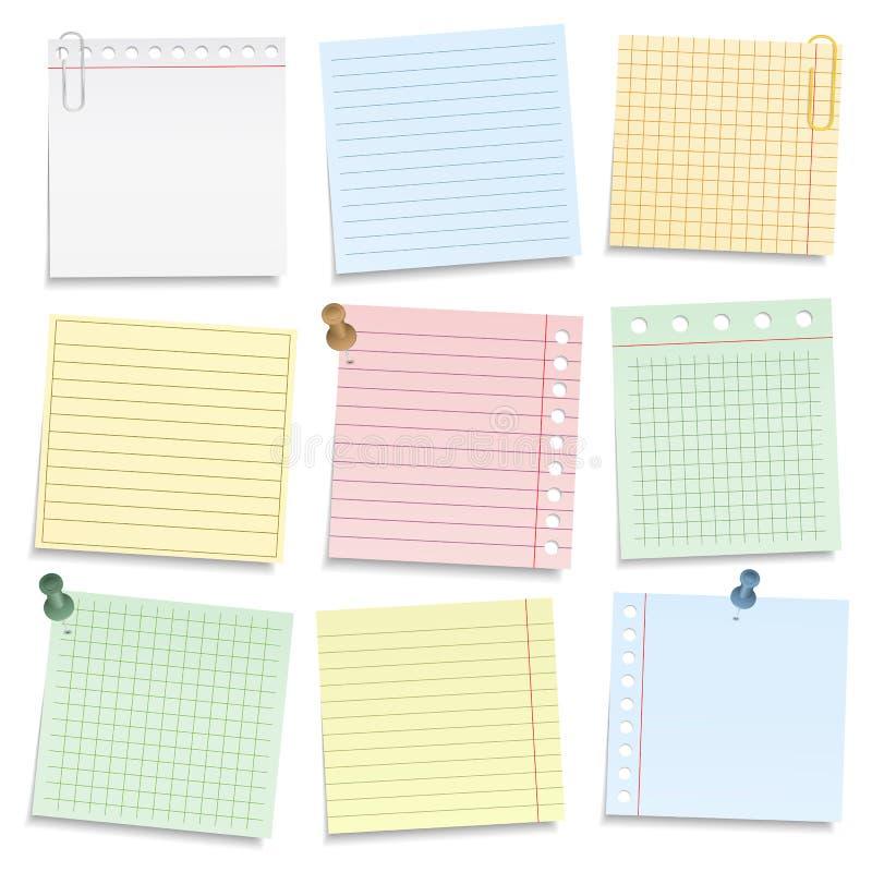 Papel colorido do caderno ilustração stock