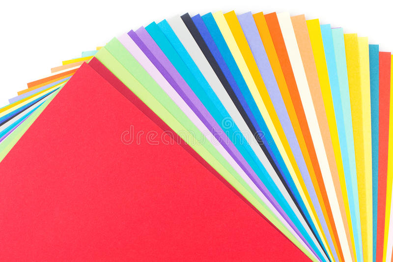 Papel colorido isolado no branco foto de stock royalty free