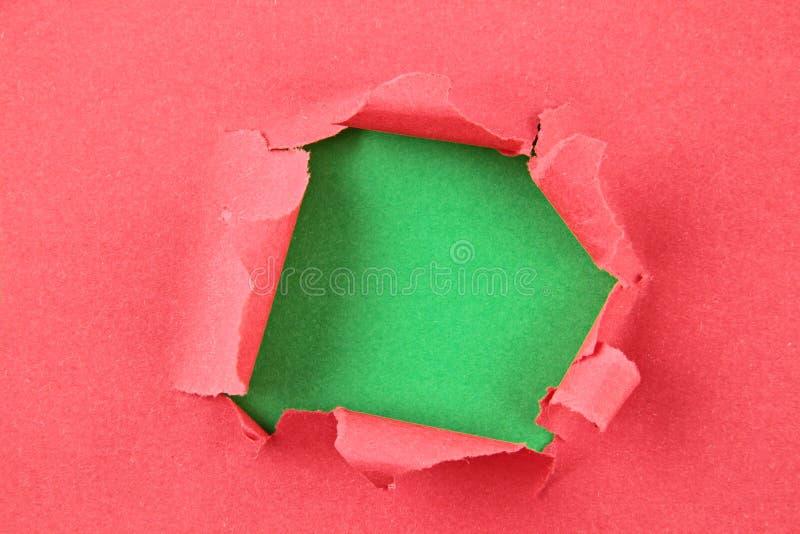 Papel colorido rasgado, furo na folha de papel fotos de stock royalty free