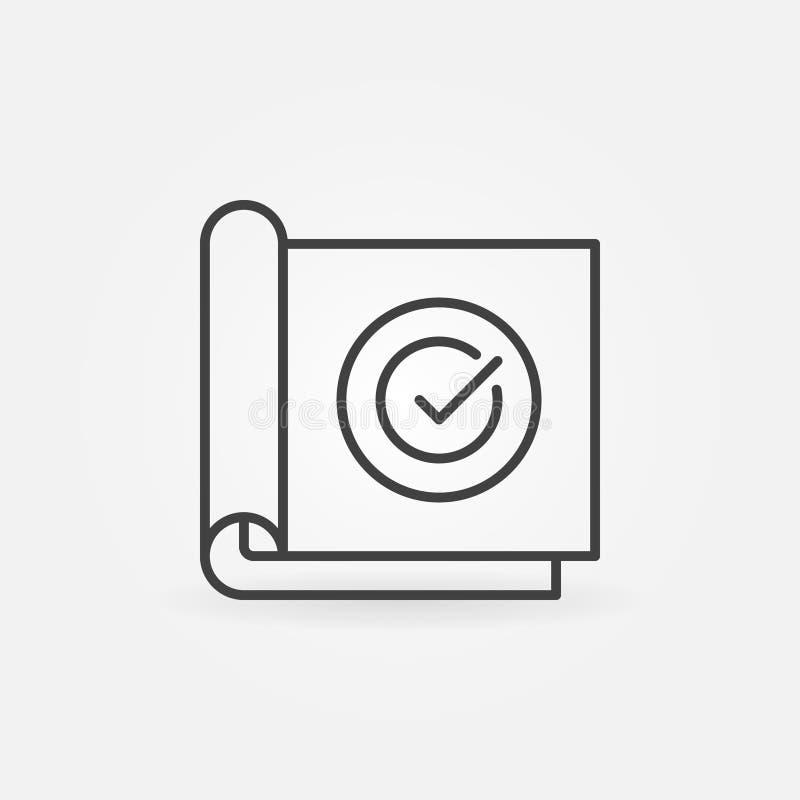 Papel com ícone linear do conceito do vetor da marca de verificação ilustração royalty free
