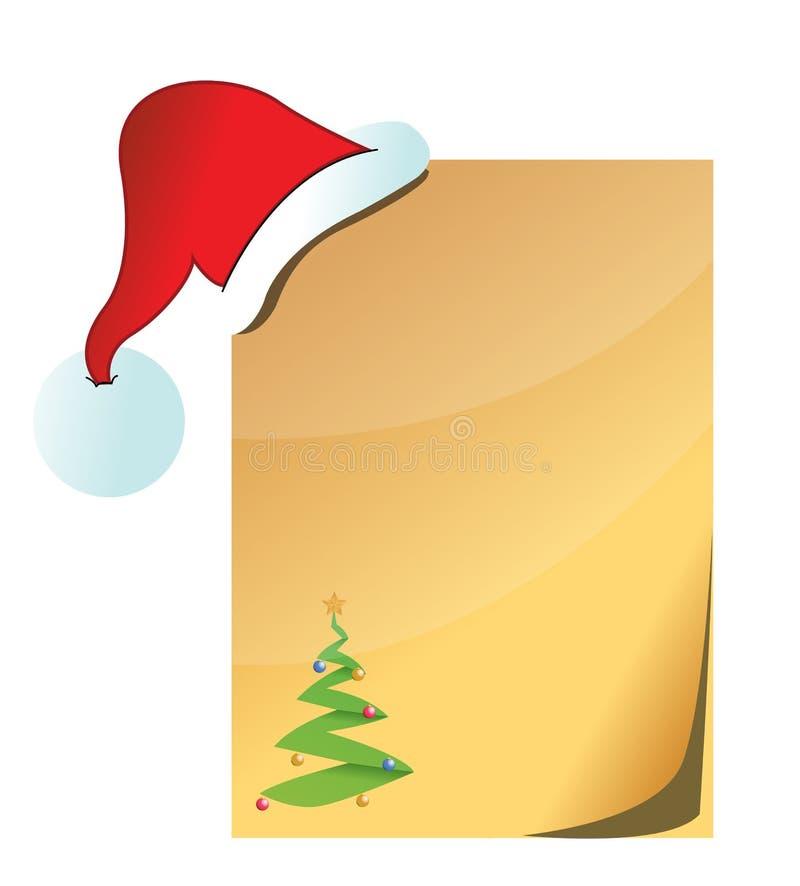 Papel com chapéu de Papai Noel ilustração royalty free