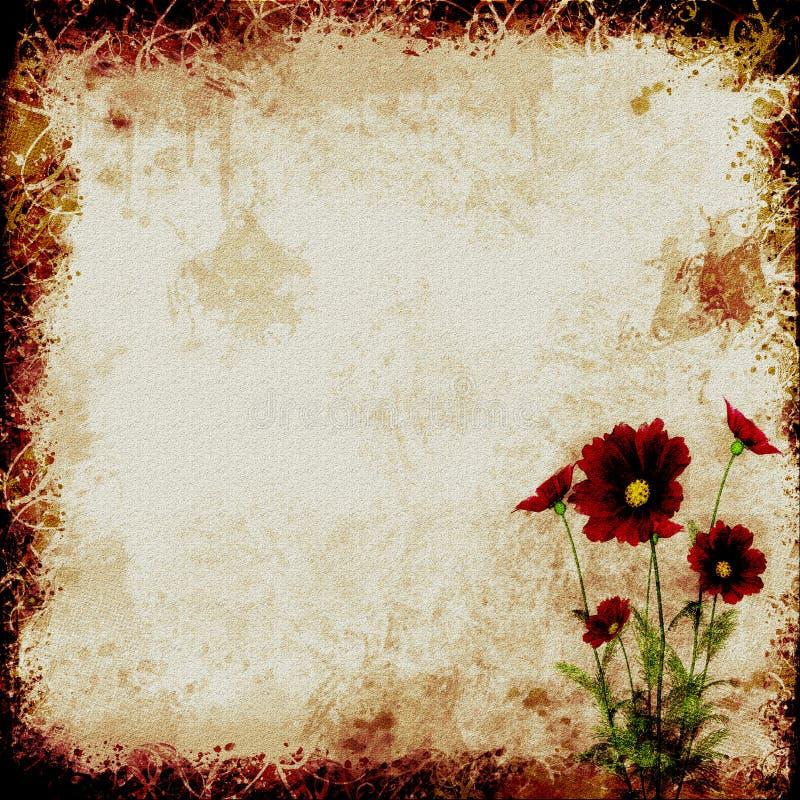 Papel com flores vermelhas ilustração do vetor