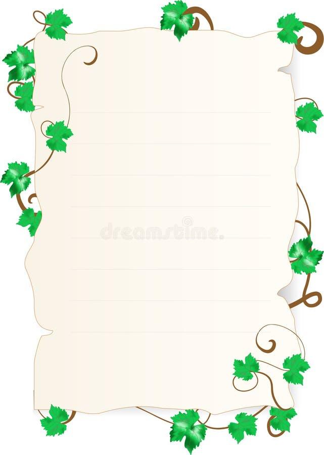 Papel com folhas do vinho ilustração stock