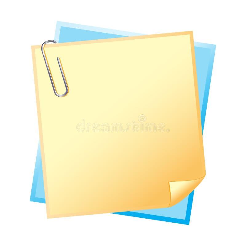 Papel com grampo ilustração do vetor