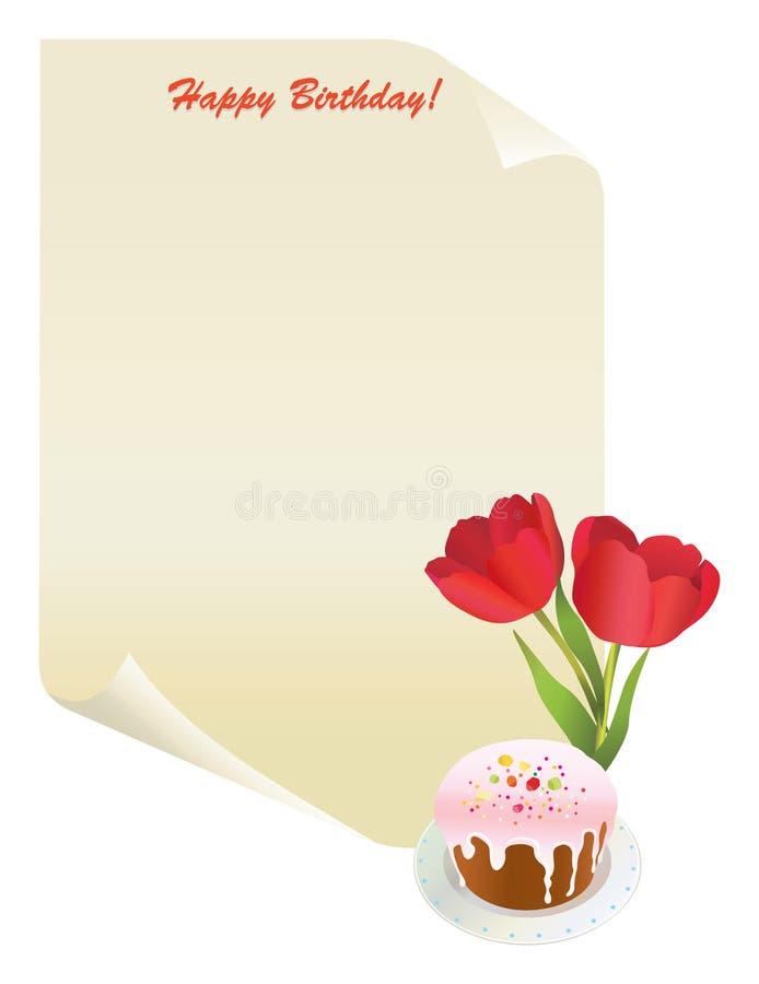 Papel com tulips e torta ilustração stock