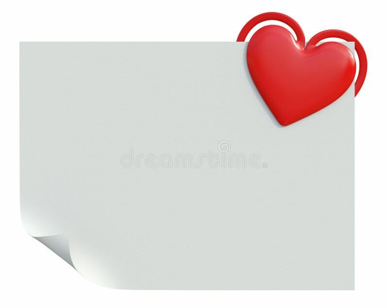 Papel con el clip en forma de corazón ilustración del vector