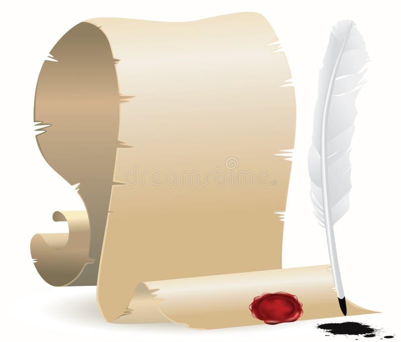 Papel con el sello y la canilla libre illustration