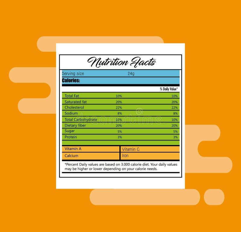 Papel con hechos de la nutrición stock de ilustración