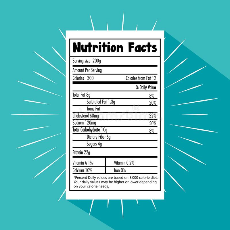 Papel con hechos de la nutrición ilustración del vector