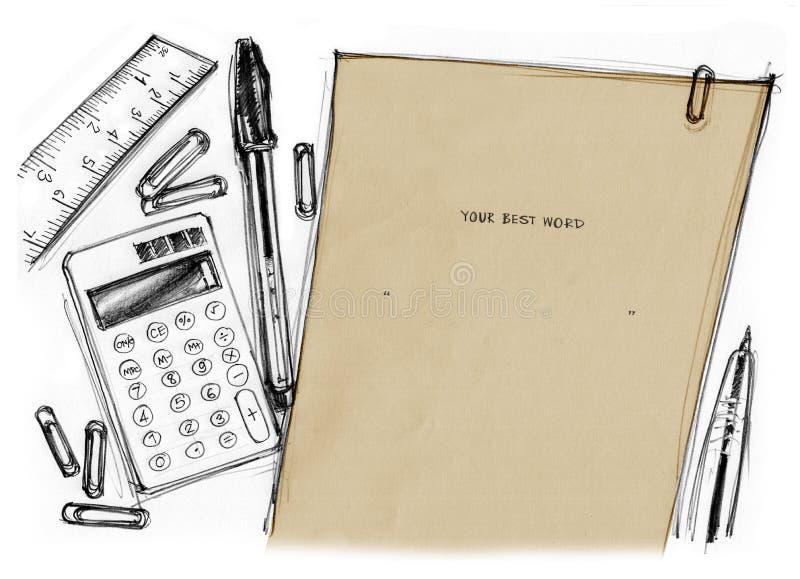 Papel con la calculadora y los efectos de escritorio dibujados imagen de archivo libre de regalías