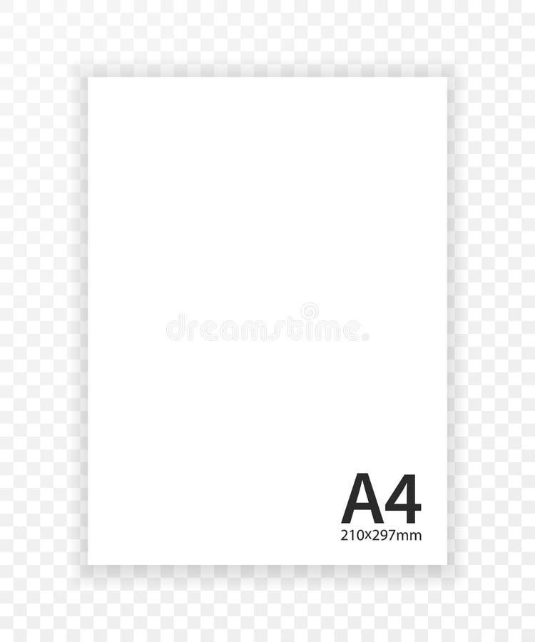 Papel A4 con la plantilla del diseño de la sombra, vector stock de ilustración