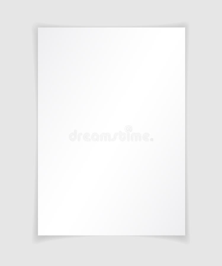 Papel A4 con la plantilla del diseño de la sombra, vector ilustración del vector