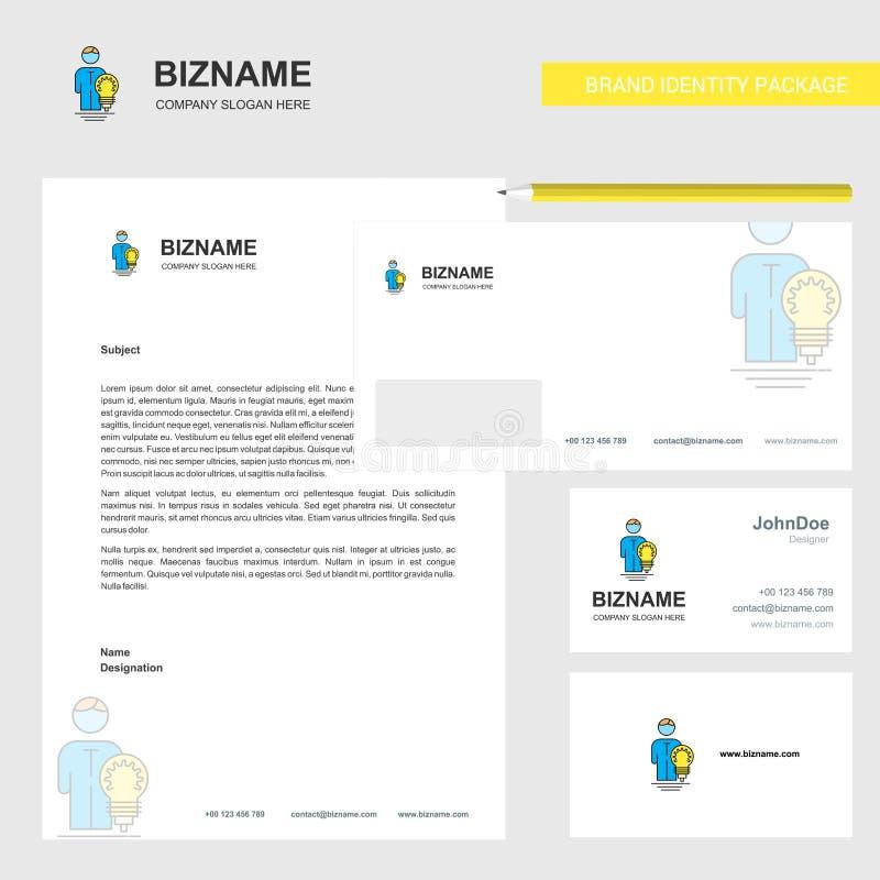 Papel con membrete del negocio de la idea, sobre y plantilla del vector del diseño de la tarjeta de visita ilustración del vector