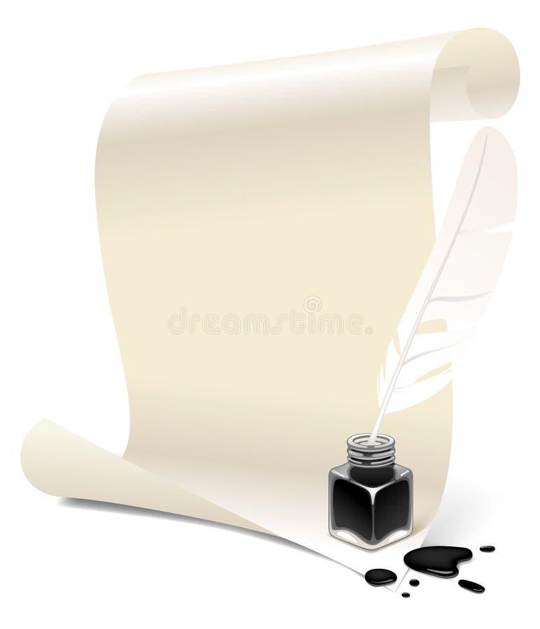 Papel con un inkwell y una pluma ilustración del vector