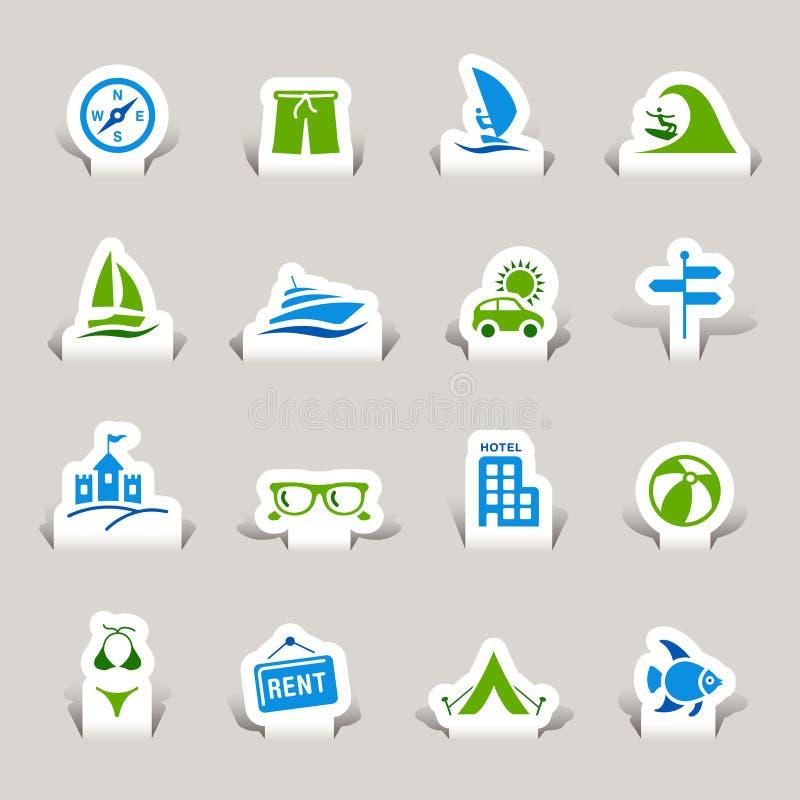 Papel cortado - ícones das férias ilustração royalty free