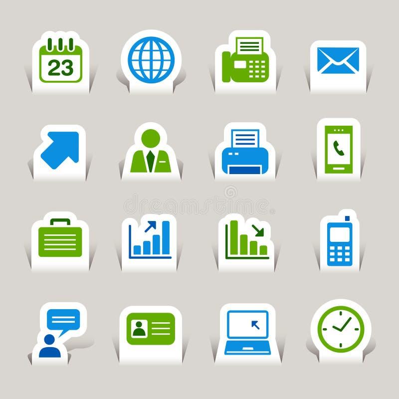 Papel cortado - ícones do escritório e do negócio ilustração stock