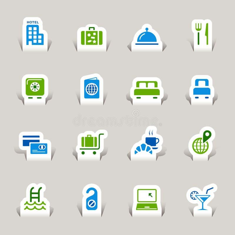 Papel cortado - iconos del hotel stock de ilustración