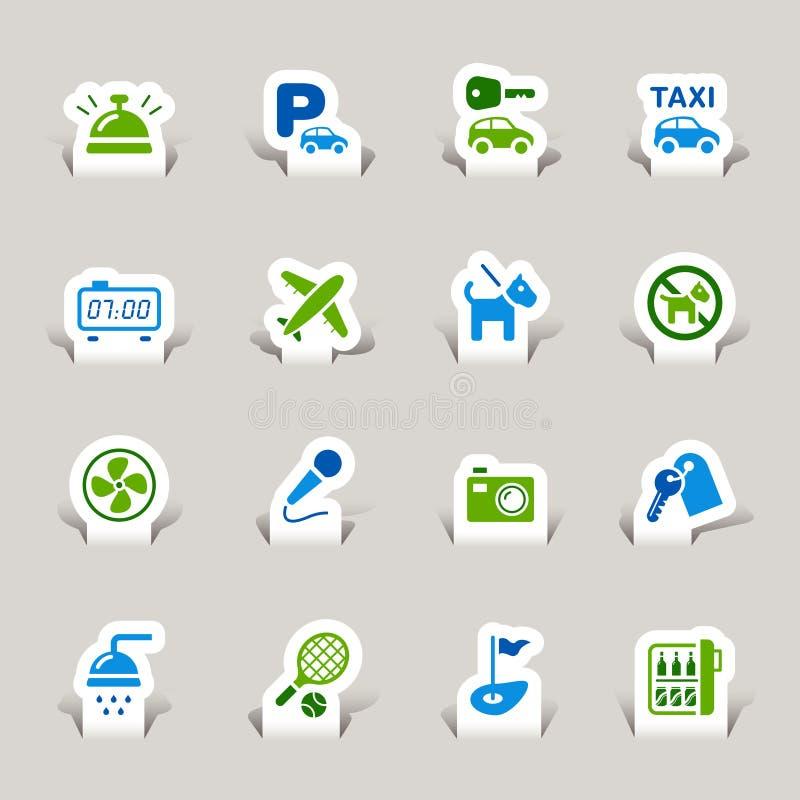 Papel cortado - iconos del hotel ilustración del vector