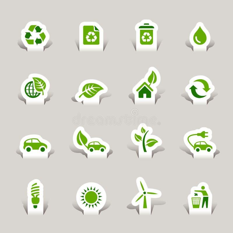 Papel cortado - iconos ecológicos ilustración del vector
