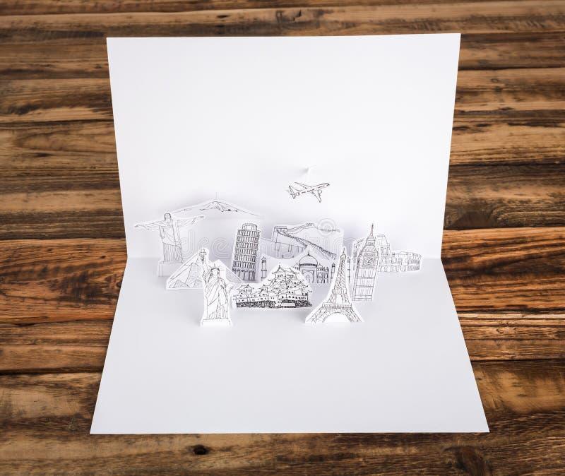 Papel cortado (Japón, Francia, Italia, Nueva York, la India, Egipto) fotografía de archivo libre de regalías