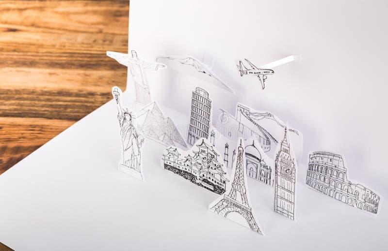 Papel cortado (Japón, Francia, Italia, Nueva York, la India, Egipto) imágenes de archivo libres de regalías