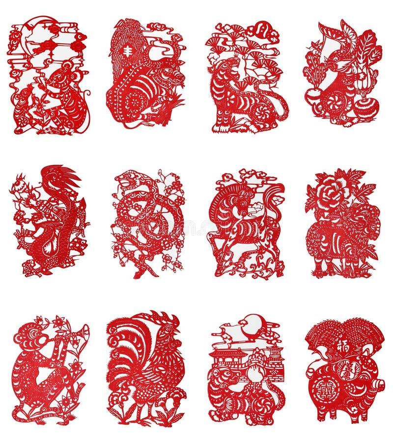 Papel-corte chino del zodiaco stock de ilustración