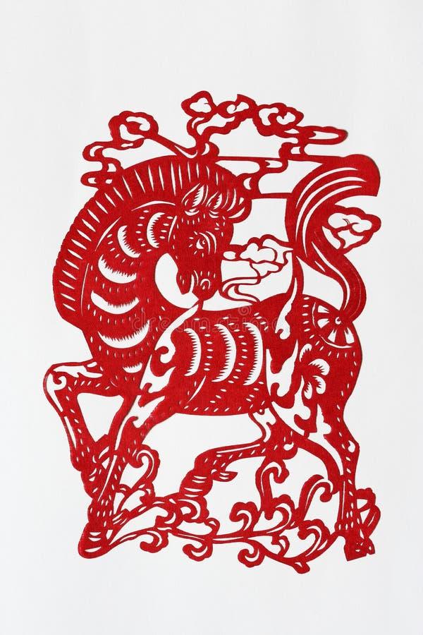 Papel-corte chino del zodiaco (caballo) fotografía de archivo libre de regalías