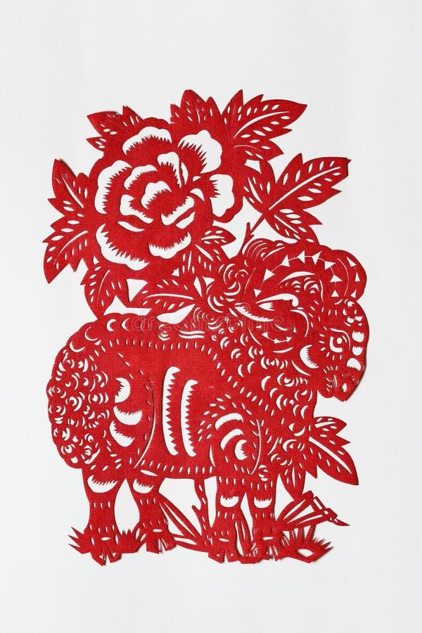 Papel-corte chino del zodiaco (ovejas) foto de archivo