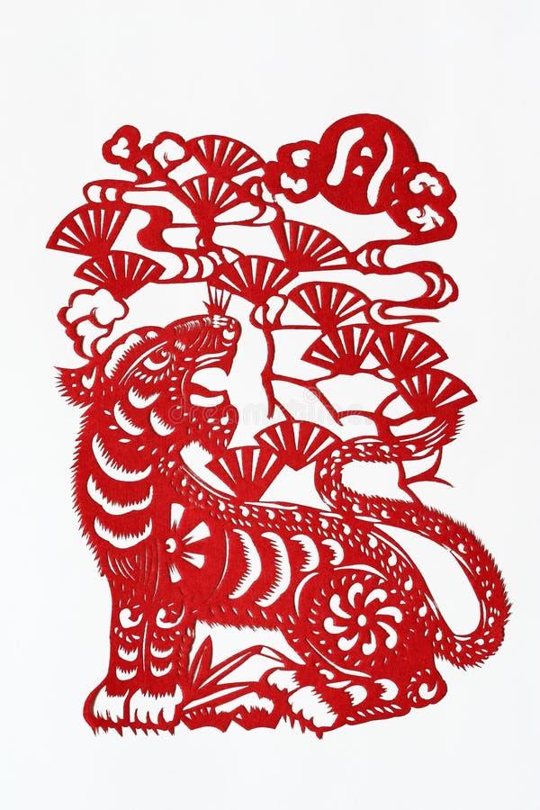 Papel-corte chino del zodiaco (tigre) fotografía de archivo libre de regalías