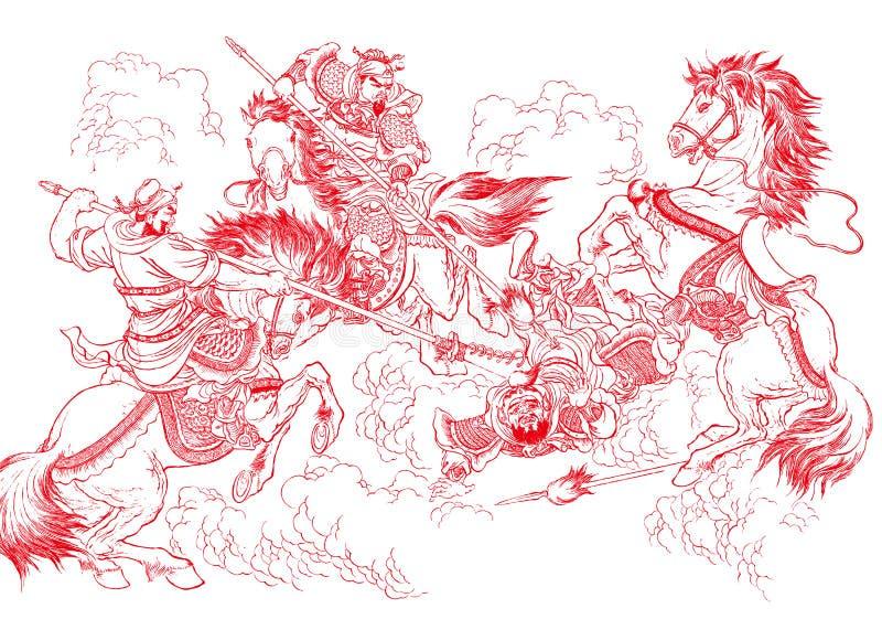 Papel-corte chino - lucha stock de ilustración