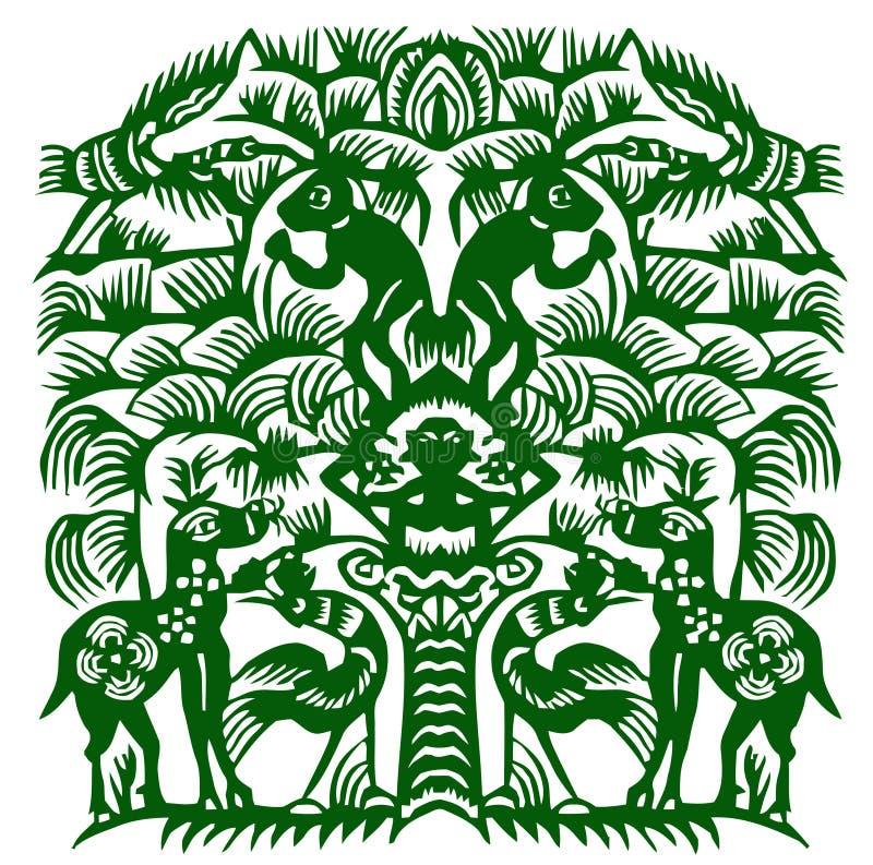 Papel-corte da floresta ilustração royalty free