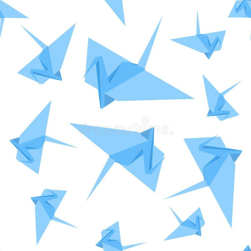 Papel Crane Background Pattern do origâmi Vetor ilustração stock