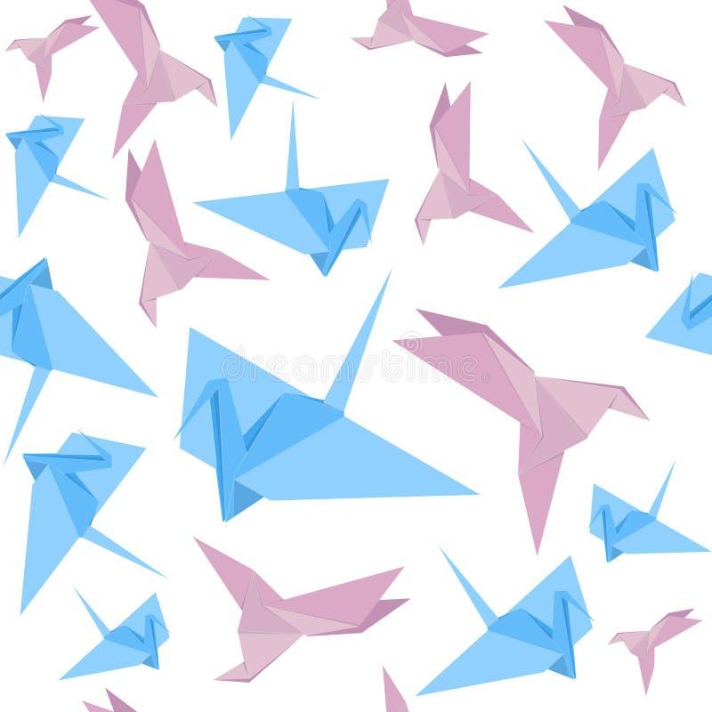 Papel Crane Background Pattern do origâmi Vetor ilustração royalty free
