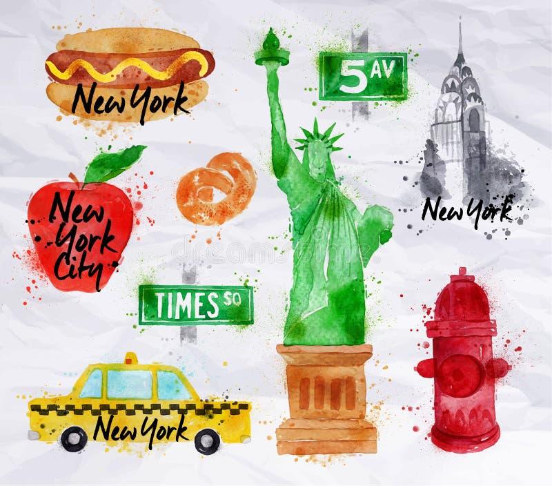 Papel crumled símbolos de New York ilustração stock