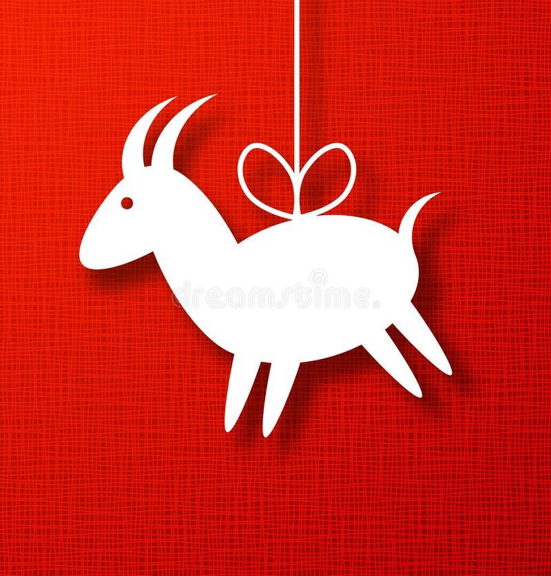 Papel da cabra no fundo vermelho da lona ilustração do vetor
