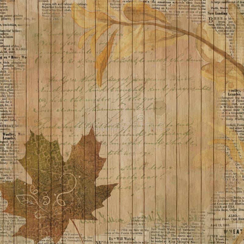 Papel da colagem do fundo do vintage - Autumn Leaf Flourish - - queda - ponto morto afligido - papel de Digitas ilustração do vetor