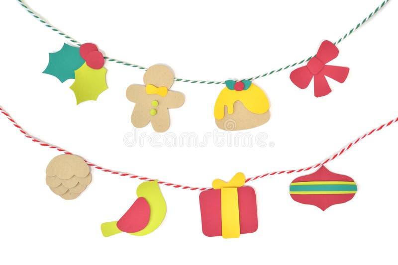 Papel da estamenha do Natal cortado no fundo branco ilustração stock