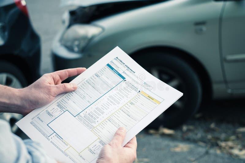 Papel da indicação do acidente de trânsito fotografia de stock