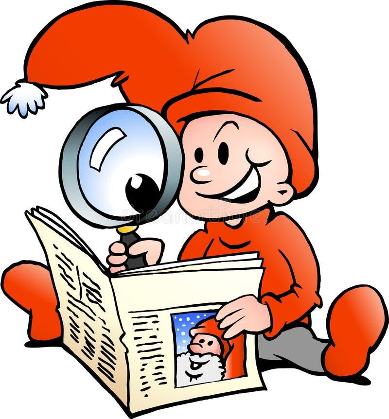 Papel da notícia da leitura do duende do Natal feliz ilustração royalty free