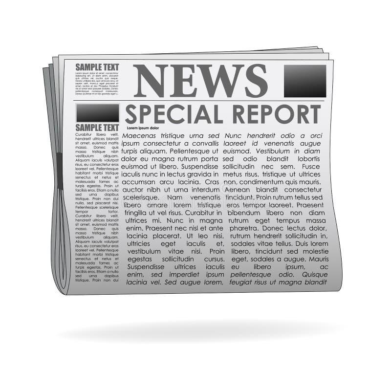 Papel da notícia do relatório especial ilustração stock