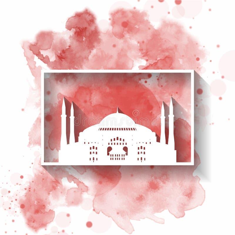 Papel da silhueta de Turquia na aquarela do respingo na cor da bandeira global Molde do projeto do vetor uso para o negócio, band ilustração stock