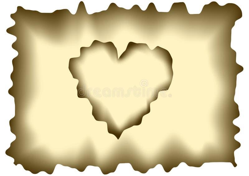 Papel dado forma coração queimado ilustração royalty free