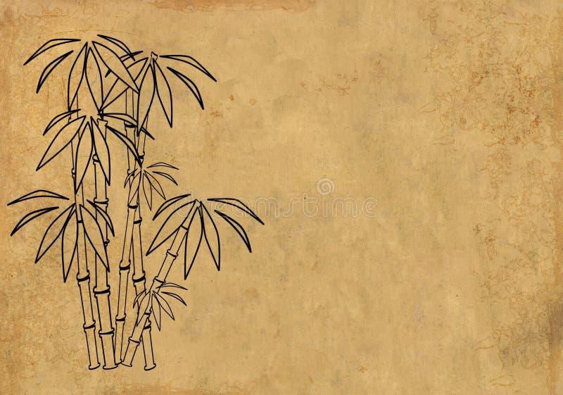 Papel de arroz da folha com figura do bambu ilustração royalty free