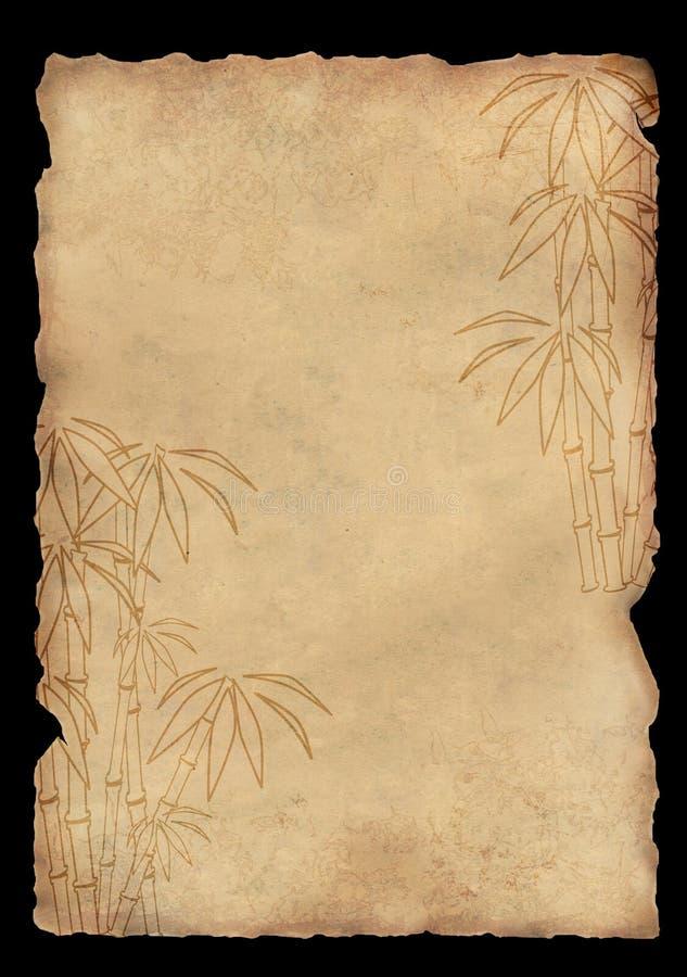 Papel de arroz da folha com figura do bambu ilustração stock