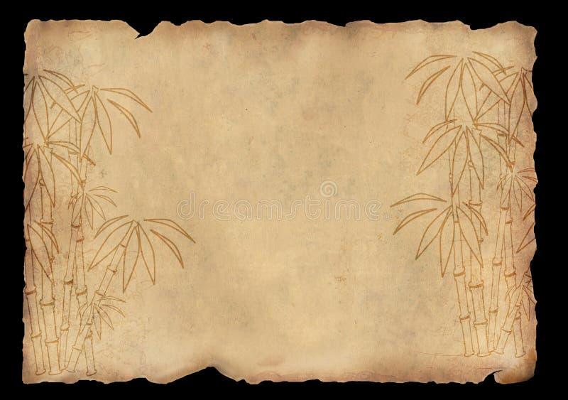 Papel de arroz da folha com figura do bambu ilustração do vetor