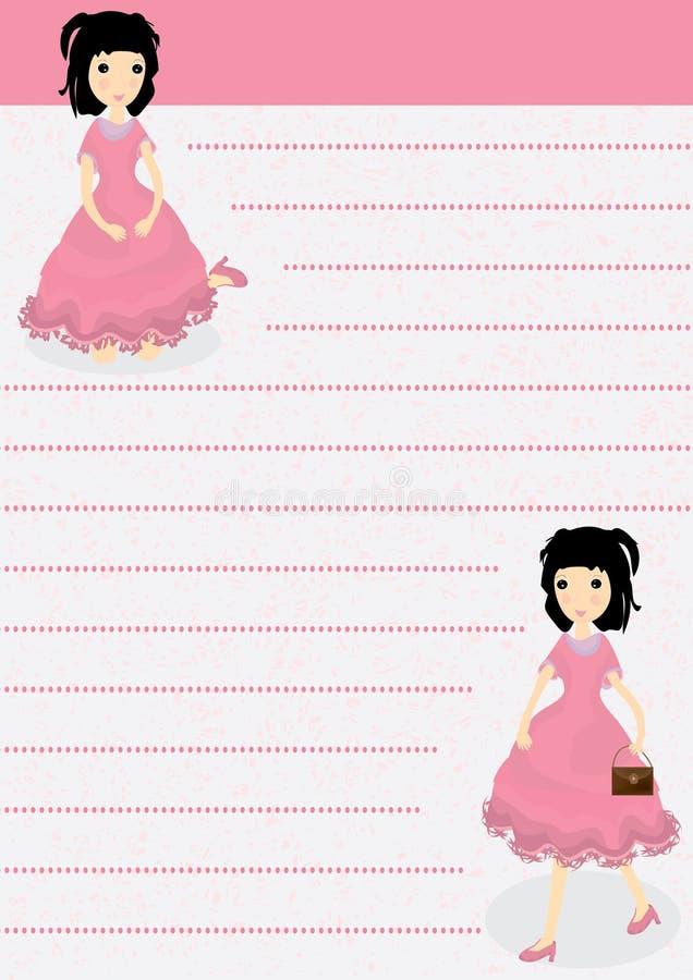 Papel de carta de la muchacha stock de ilustración