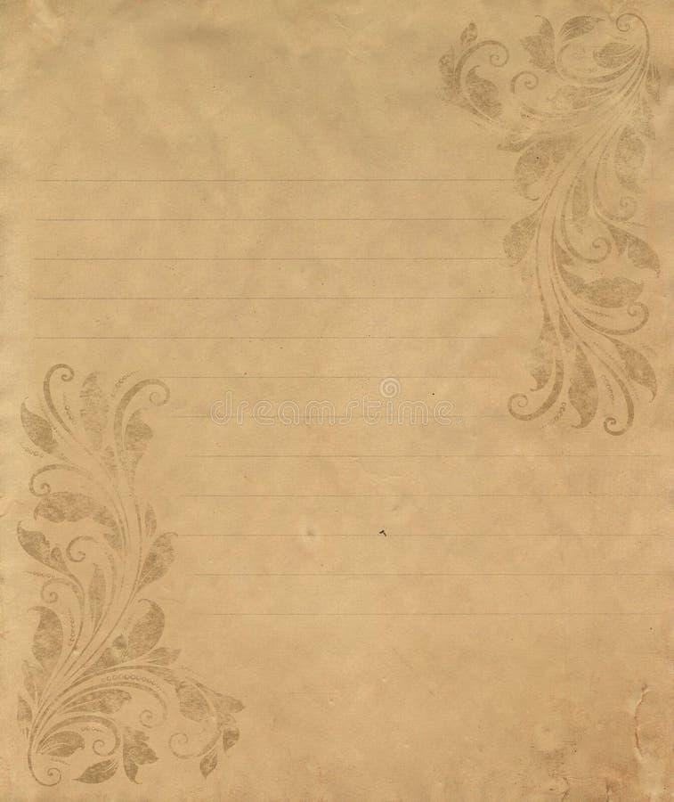 Papel de carta viejo del grunge imagenes de archivo